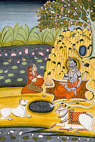Parvati sitting with Shiva